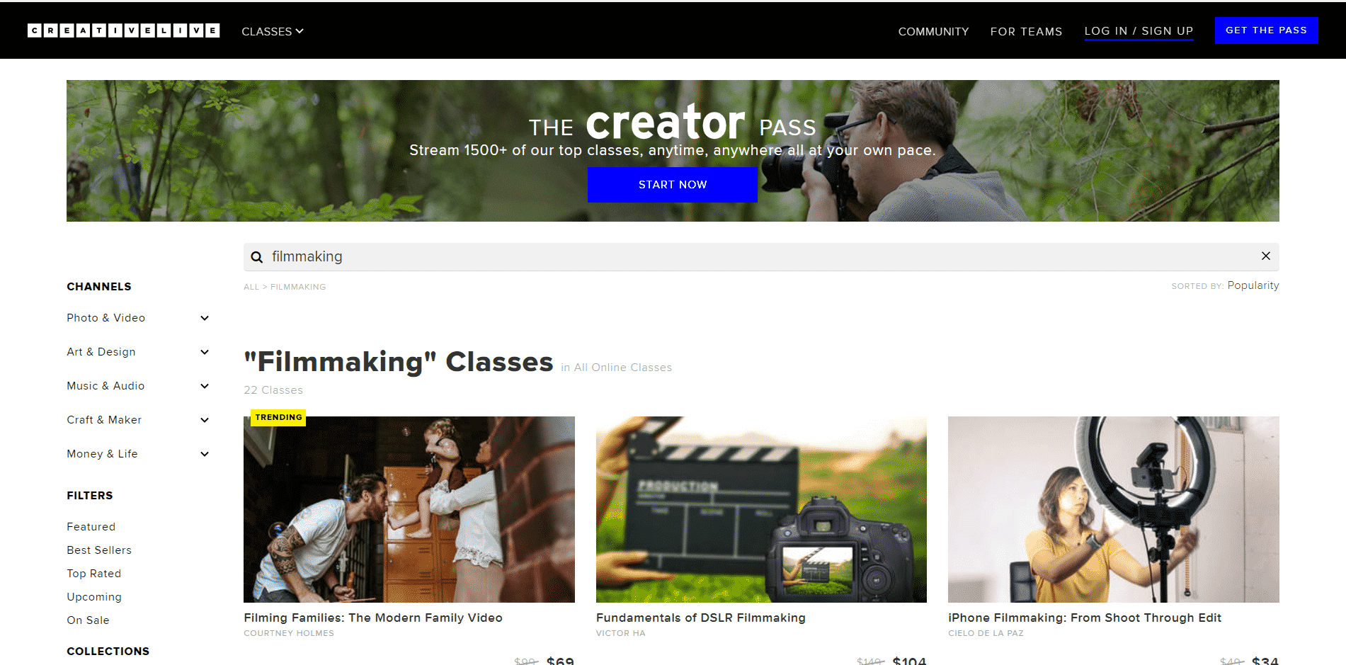 Creative Live Filmmaking Lesson Online