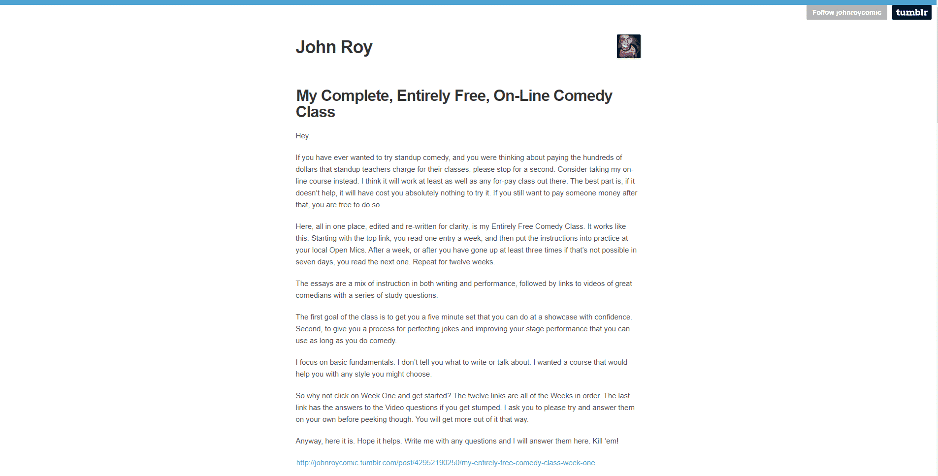 John Roy's Learn Comedy Lessons Online