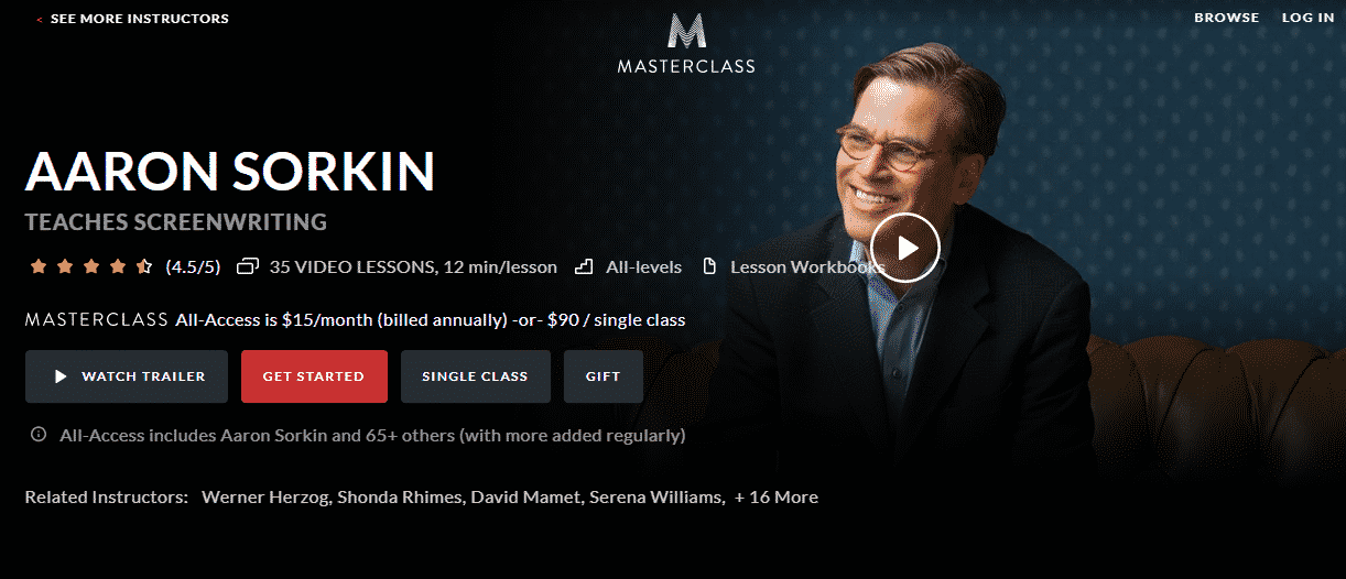 MasterClass Aaron Sorkin Learn Screenwriting Lessons Online