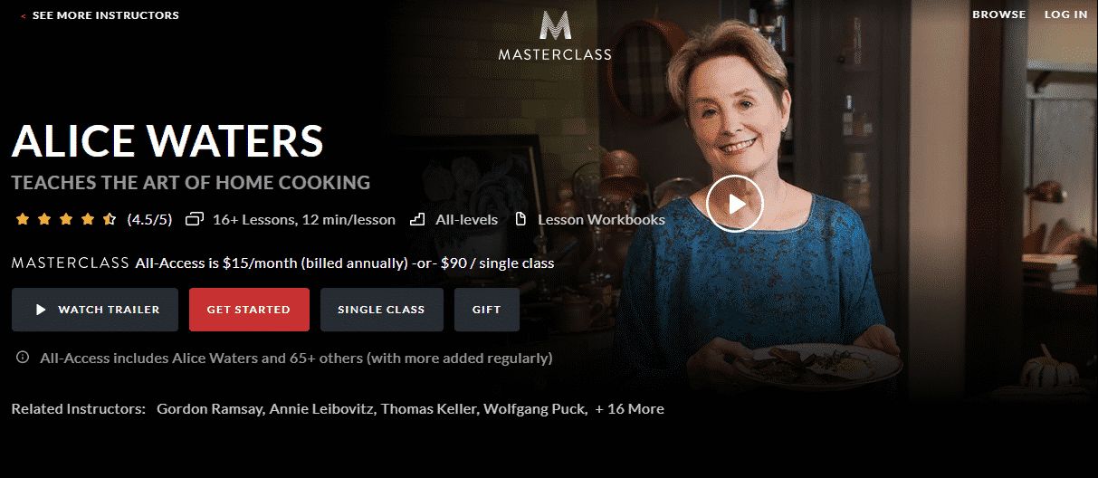 MasterClass Alice Waters Learn Cooking Lessons Online