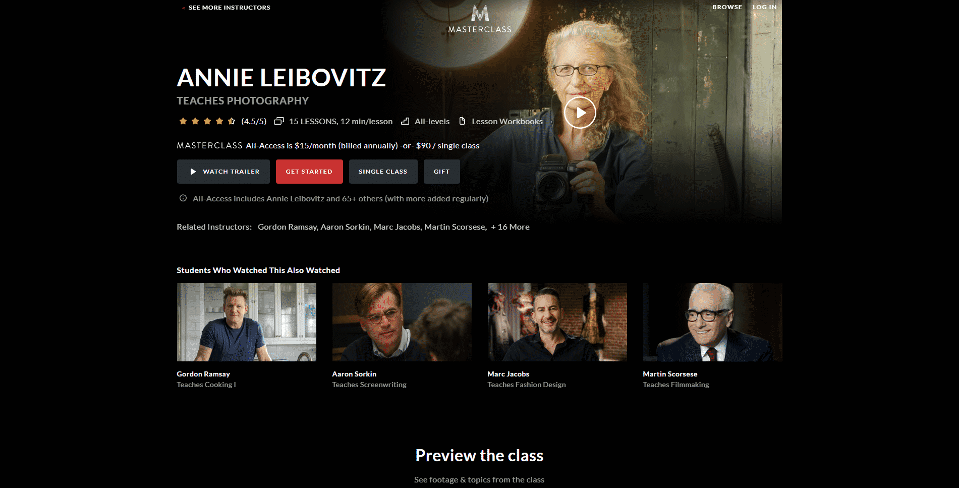 MasterClass Annie Leibovitz Learn Photography Lessons Online