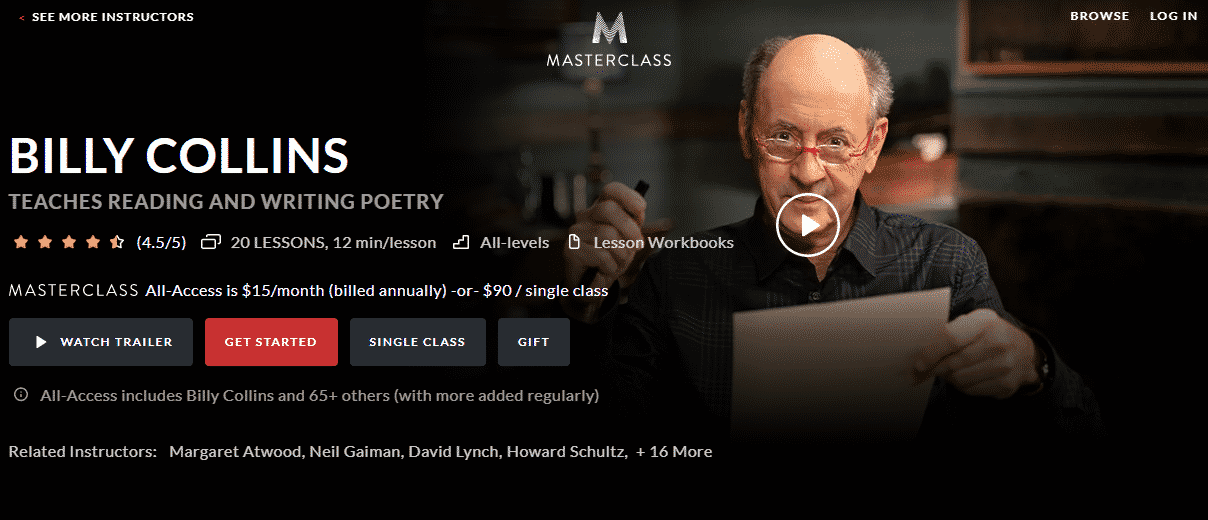 MasterClass Billy Collins Learn Writing Lessons Online