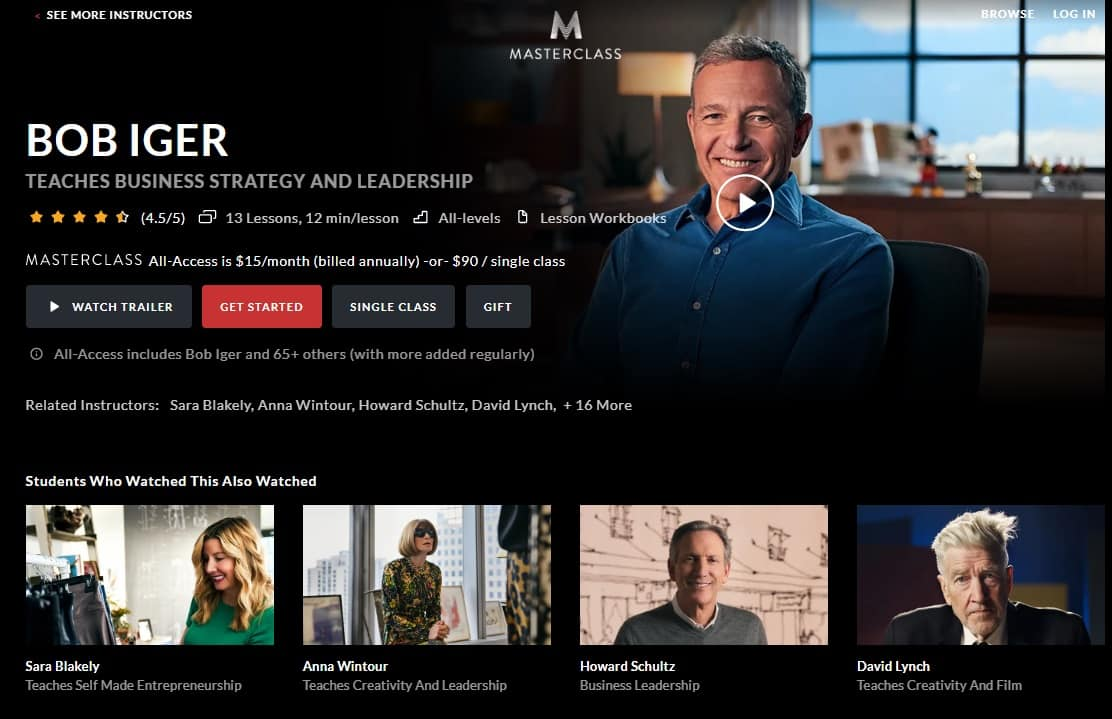 MasterClass Bob Iger's Business Strategy and Leadership Lesson Review