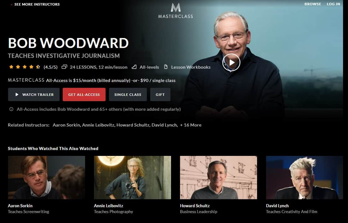 MasterClass Bob Woodward's Investigative Journalism Lesson Review