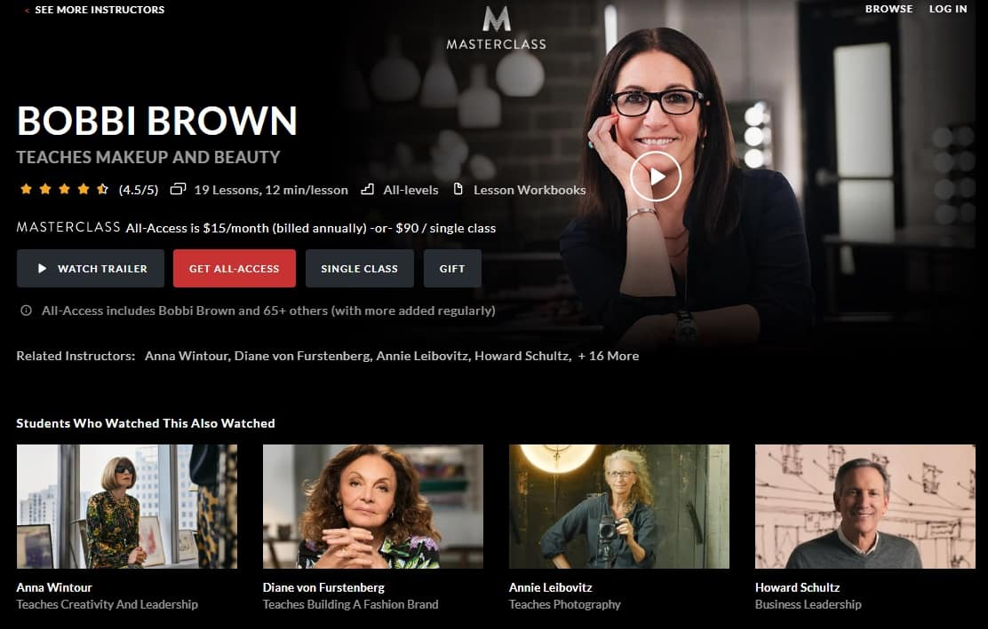MasterClass Bobbi Brown's Makeup and Beauty Lesson Review