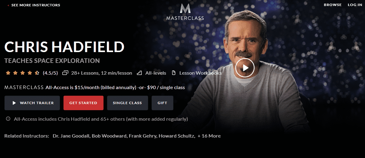 MasterClass Chris Hadfield Learn Space Exploration Lessons Online