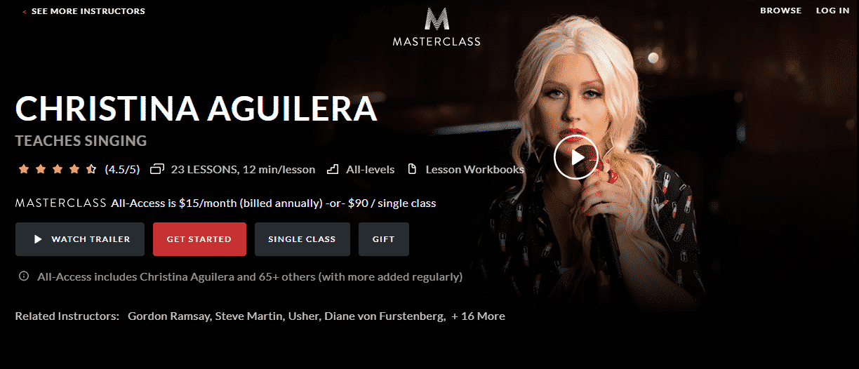 MasterClass Christina Aguilera Learn Singing Lessons Online