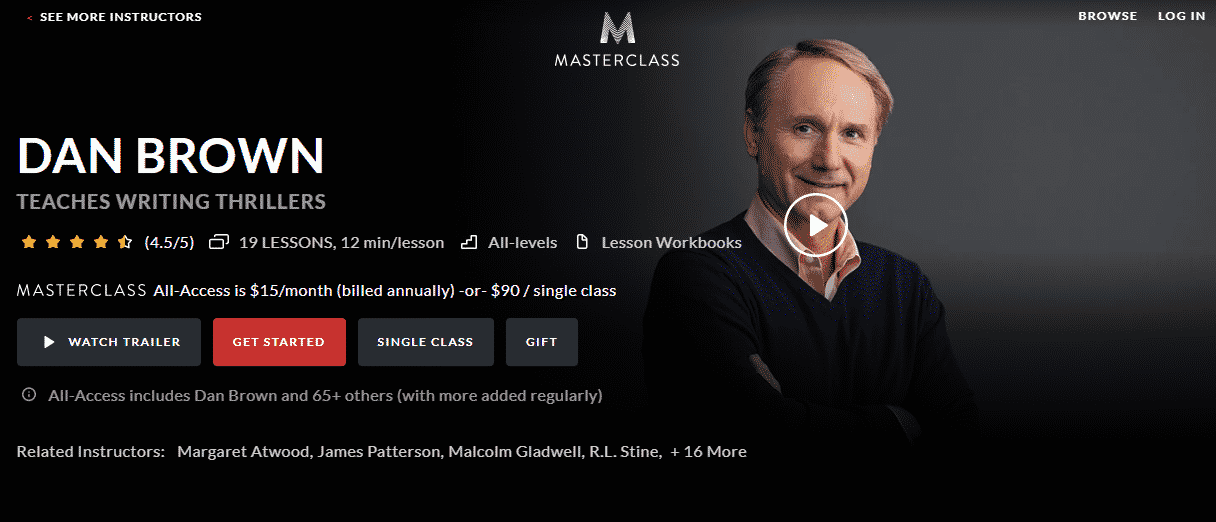 MasterClass Dan Brown Learn Writing Lessons Online