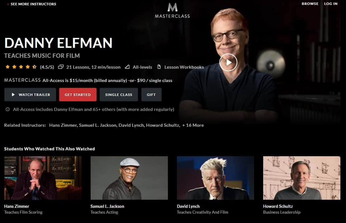 MasterClass Danny Elfman's Music for Film Lesson Review