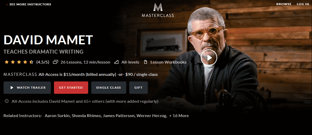 MasterClass David Mamet Learn Screenwriting Lessons Online