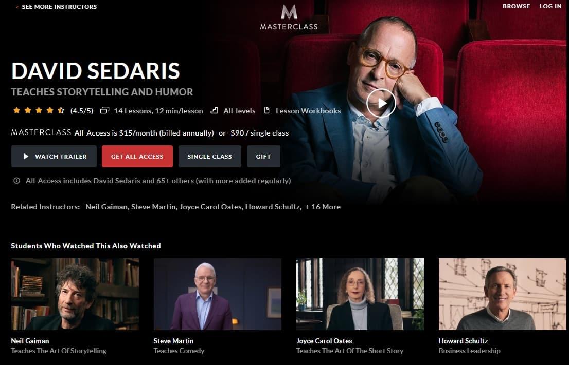 MasterClass David Sedaris's Storytelling and Humor Lesson Review