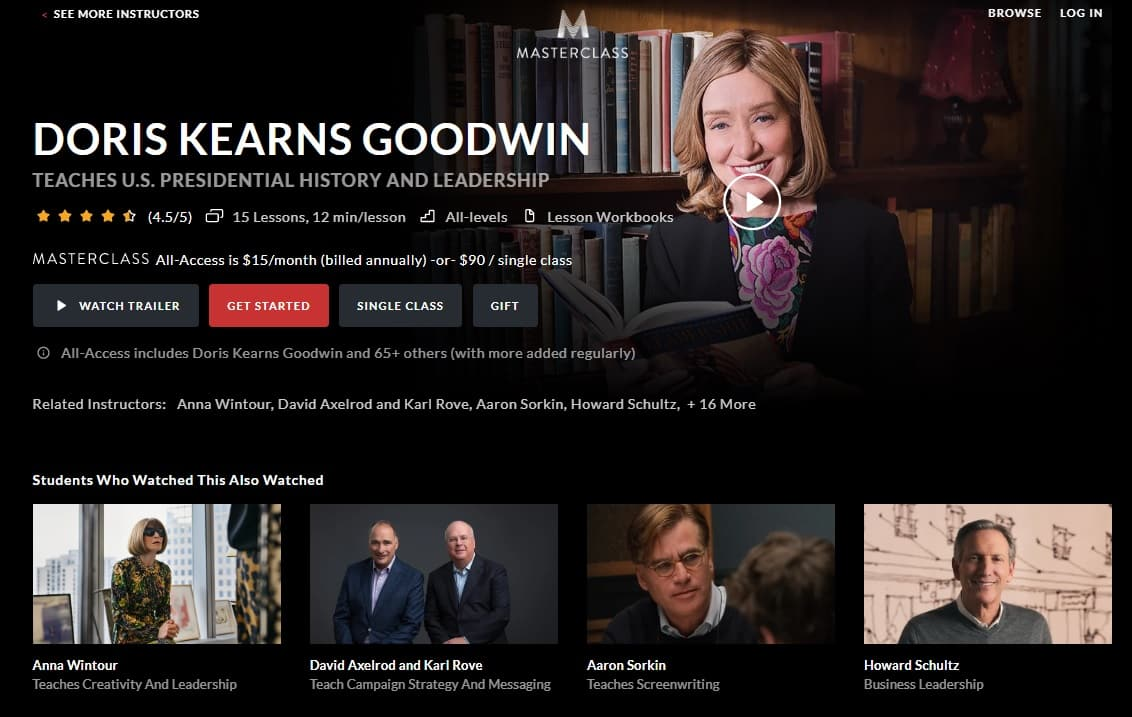 MasterClass Doris Kearns Goodwin's U.S. Presidential History and Leadership Lesson Review