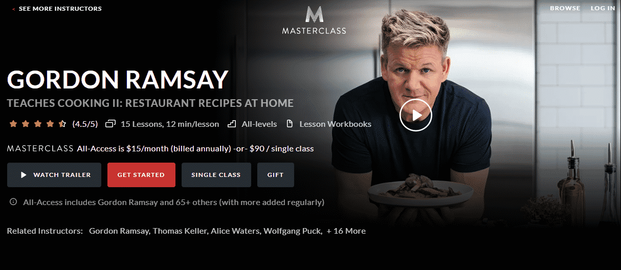 MasterClass Gordon Ramsay Learn Cooking Lessons Online
