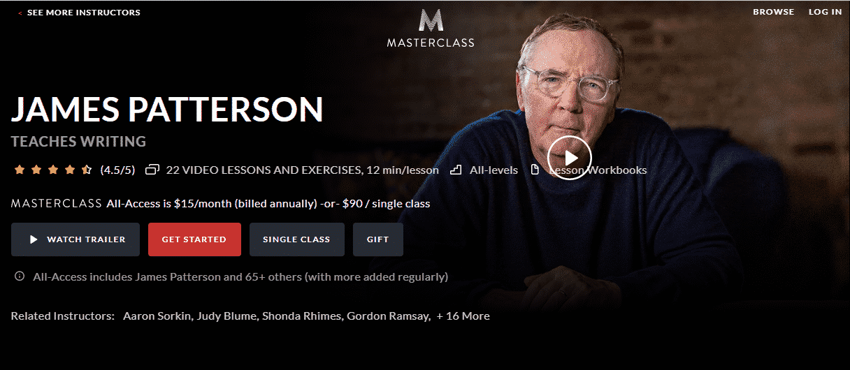 MasterClass James Patterson Learn Writing Lessons Online