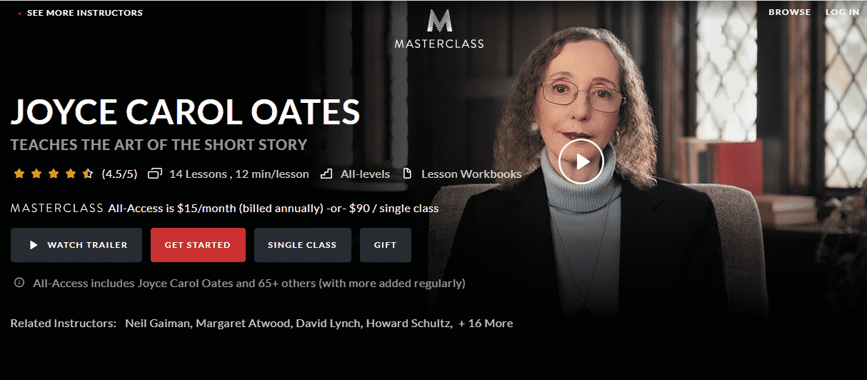 MasterClass Joyce Carol Oates Learn Writing Lessons Online