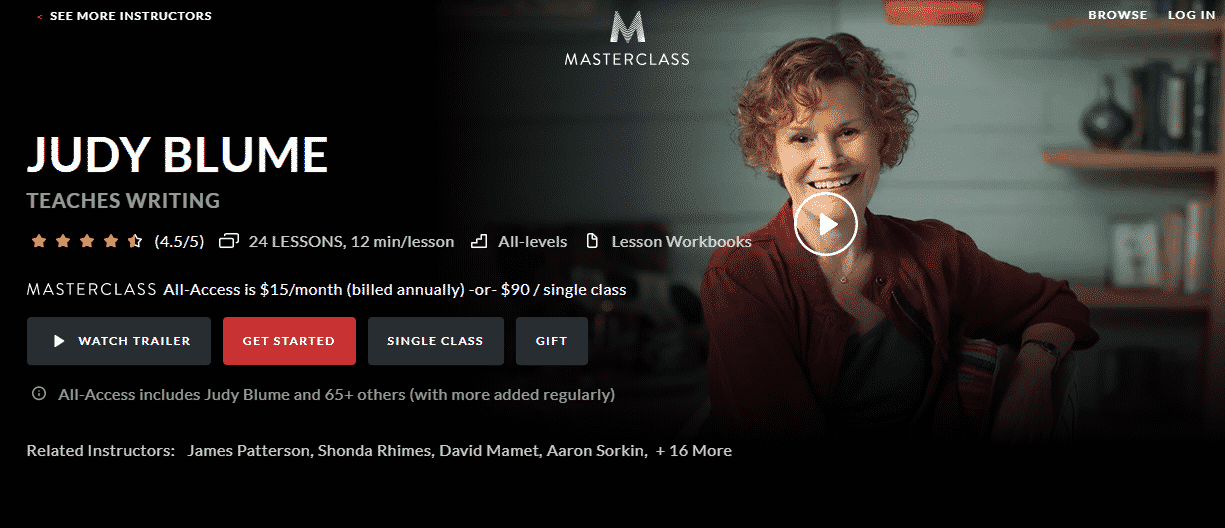MasterClass Judy Blume Learn Writing Lessons Online
