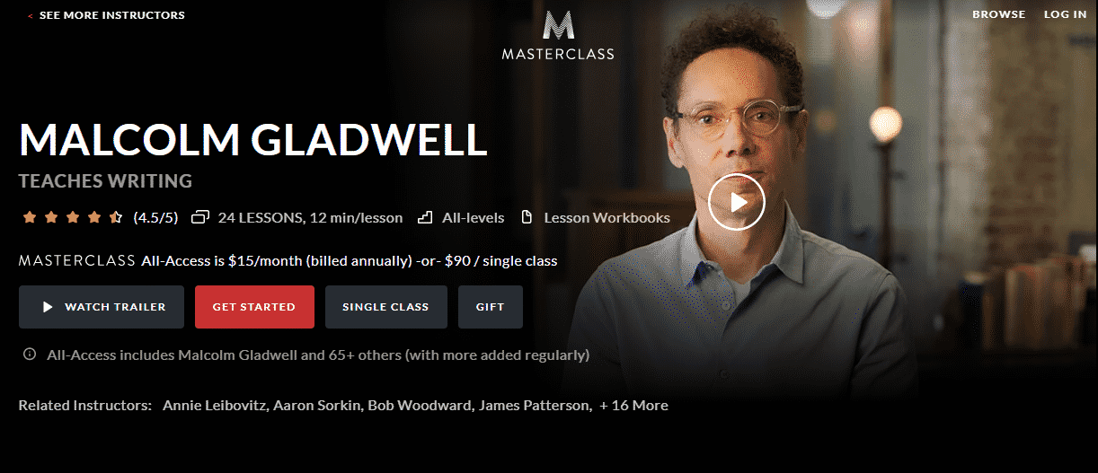 MasterClass Malcolm Gladwell Learn Writing Lessons Online