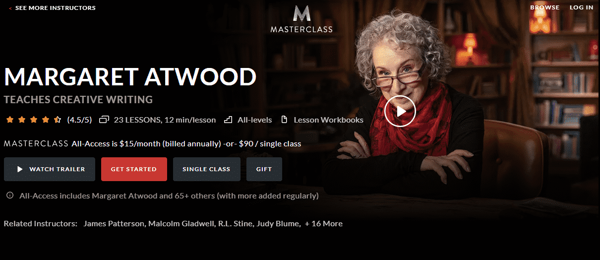 MasterClass Margaret Atwood Learn Writing Lessons Online