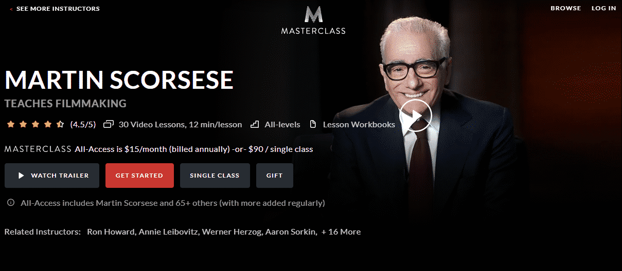 MasterClass Martin Scorsese Learn Filmmaking Lessons Online