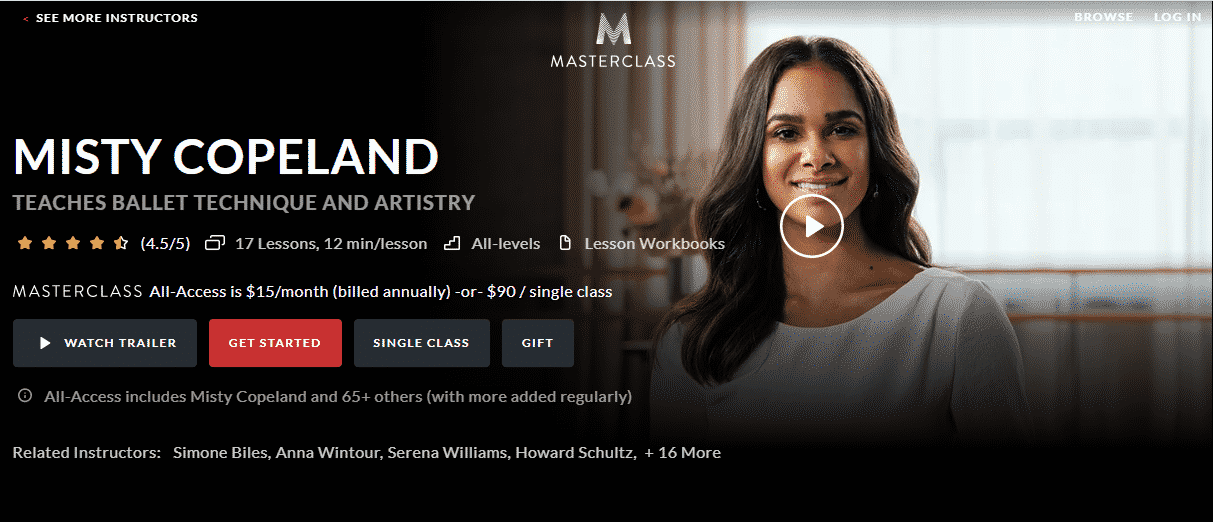 MasterClass Misty Copeland Learn Ballet Lessons Online