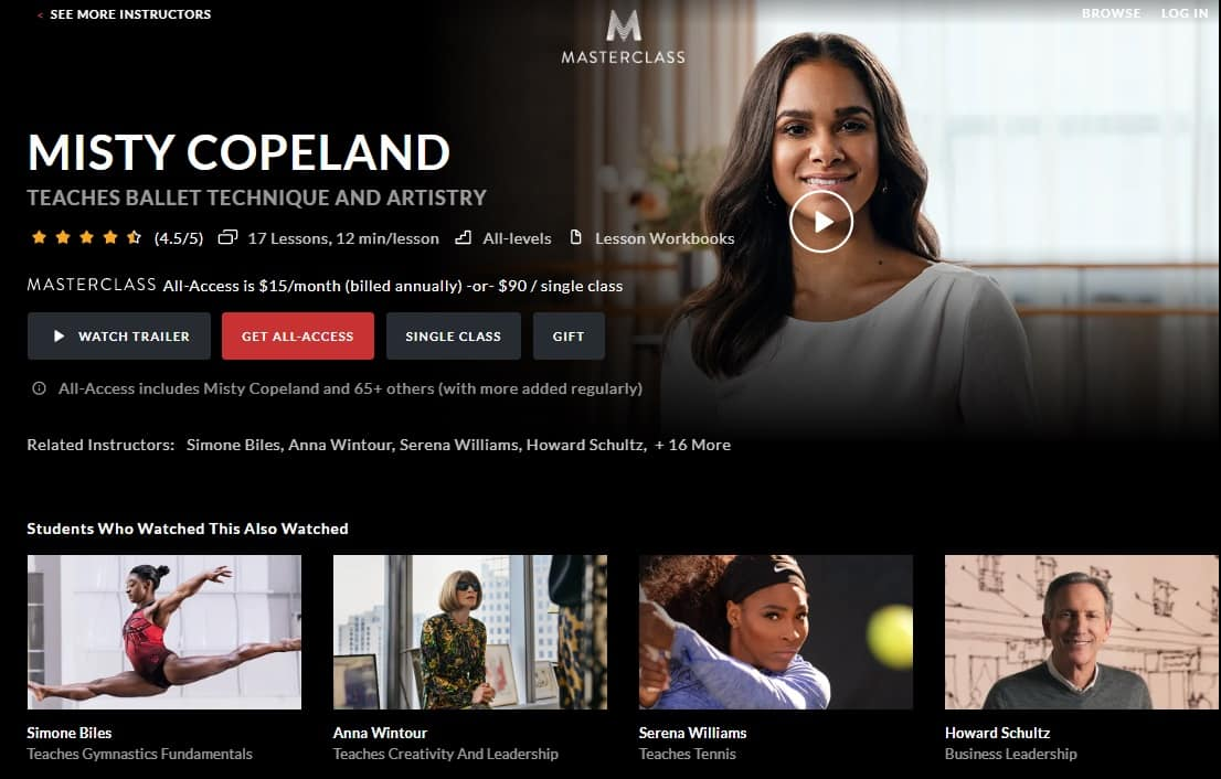 MasterClass Misty Copeland's Ballet Technique and Artistry Lesson Review