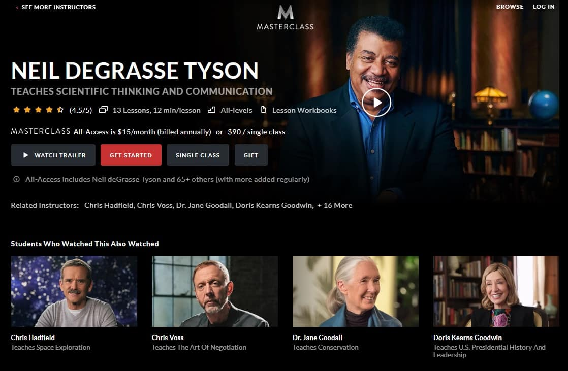 MasterClass Neil Degrasse Tyson's Scientific Thinking and Communication Lesson Review