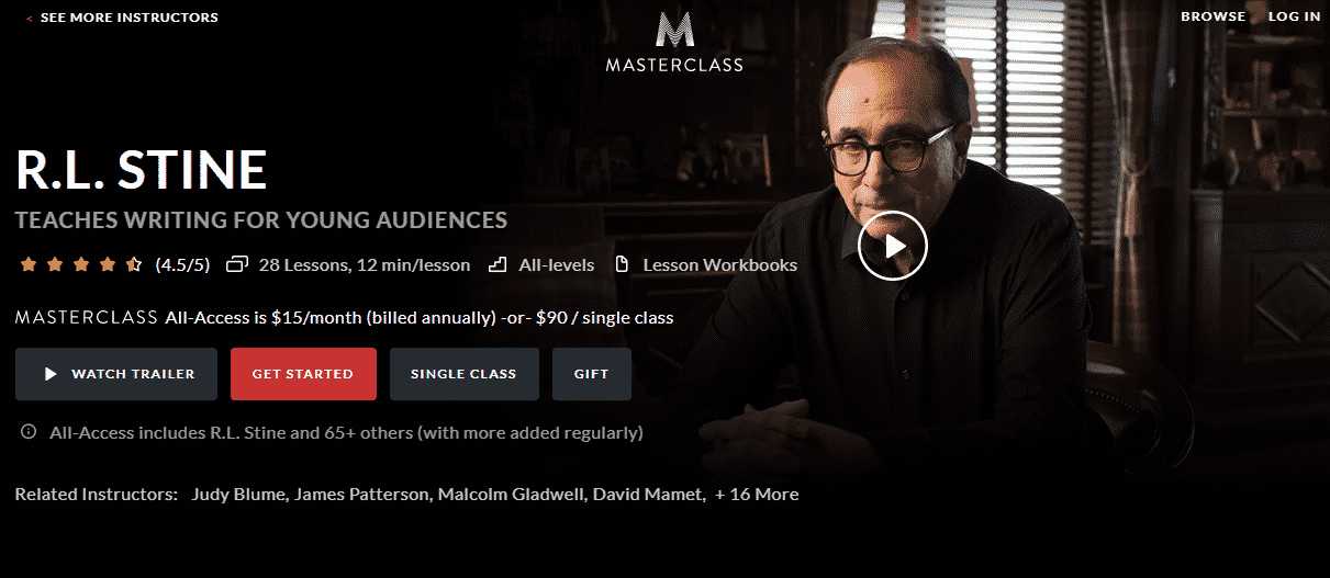 MasterClass RL Stine Learn Writing Lessons Online