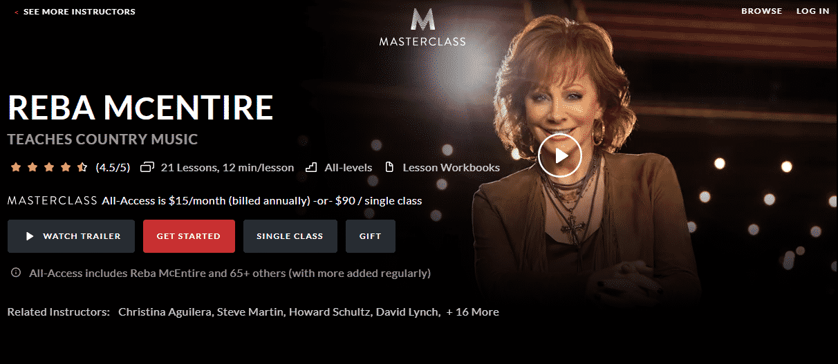 MasterClass Reba McEntire Learn Country Music Lessons Online