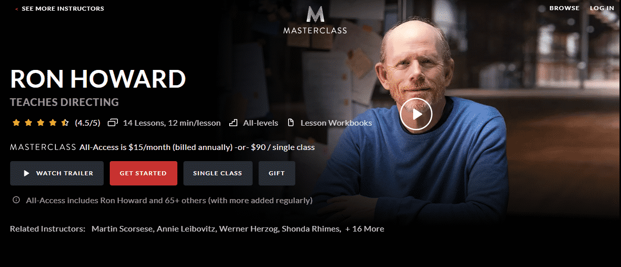MasterClass Ron Howard Learn Directing Lessons Online