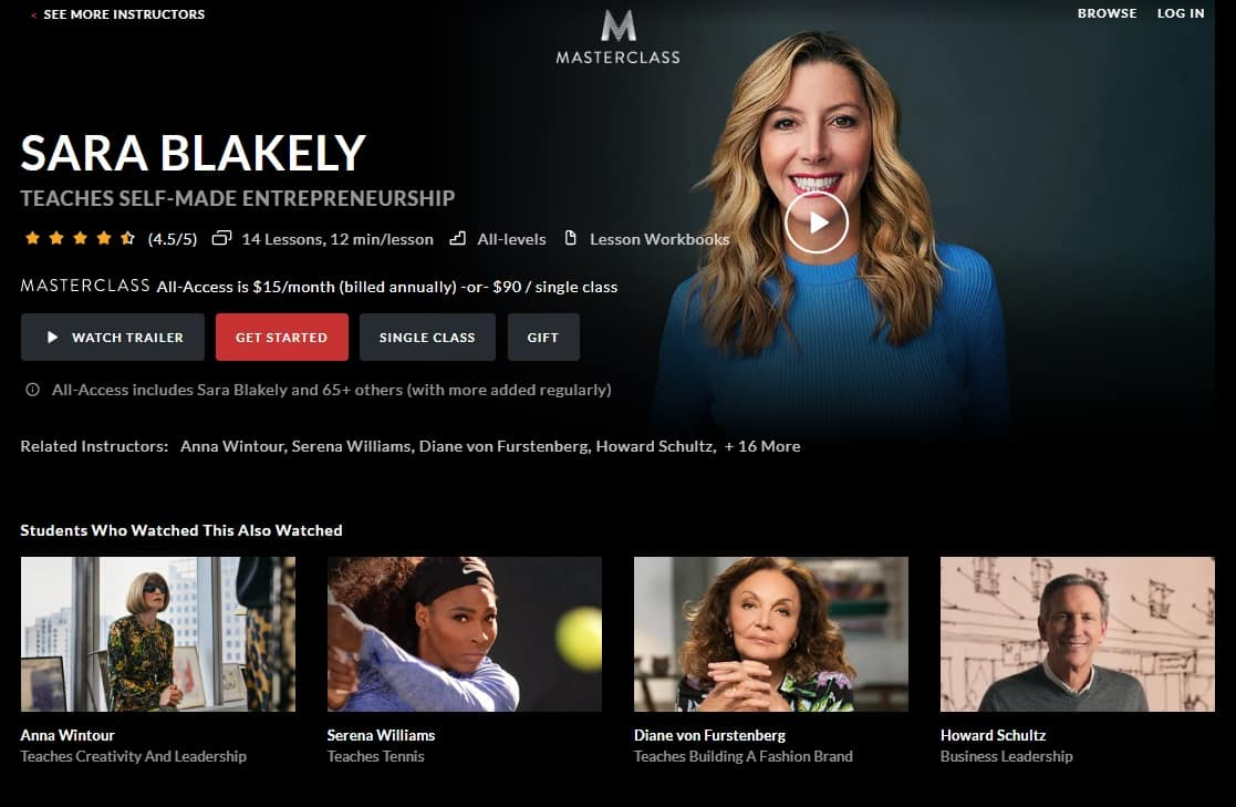 MasterClass Sara Blakely's Self-Made Entrepreneurship Lesson Review