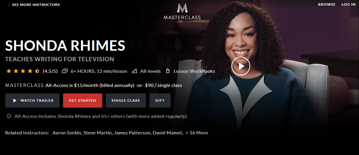 MasterClass Shonda Rhimes Learn Screenwriting Lessons Online