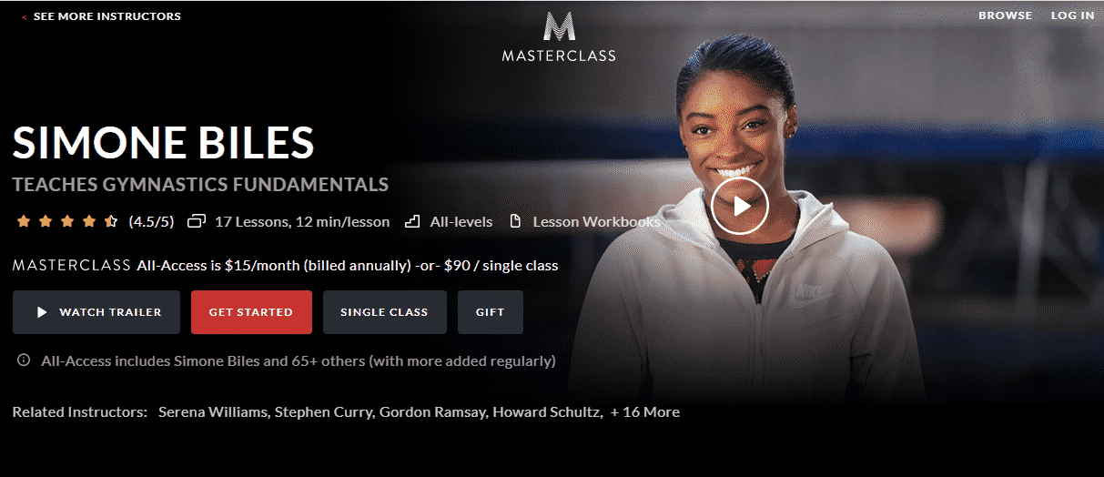 MasterClass Simone Biles Learn Gymnastics Lessons Online