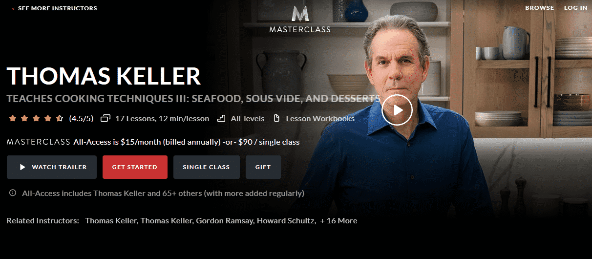 MasterClass Thomas Keller Learn Cooking Lessons Online