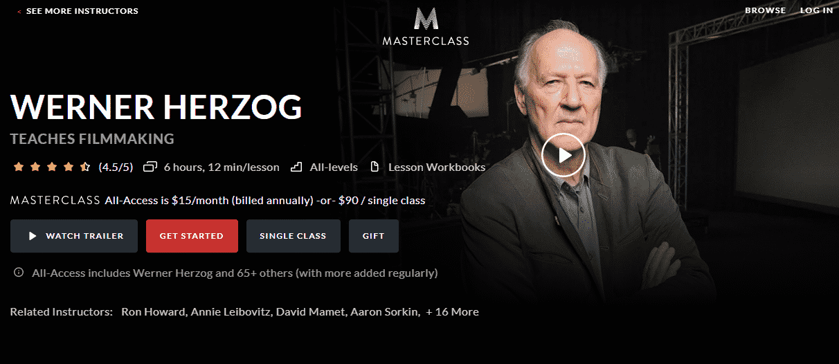 MasterClass Werner Herzog Learn Filmmaking Lessons Online