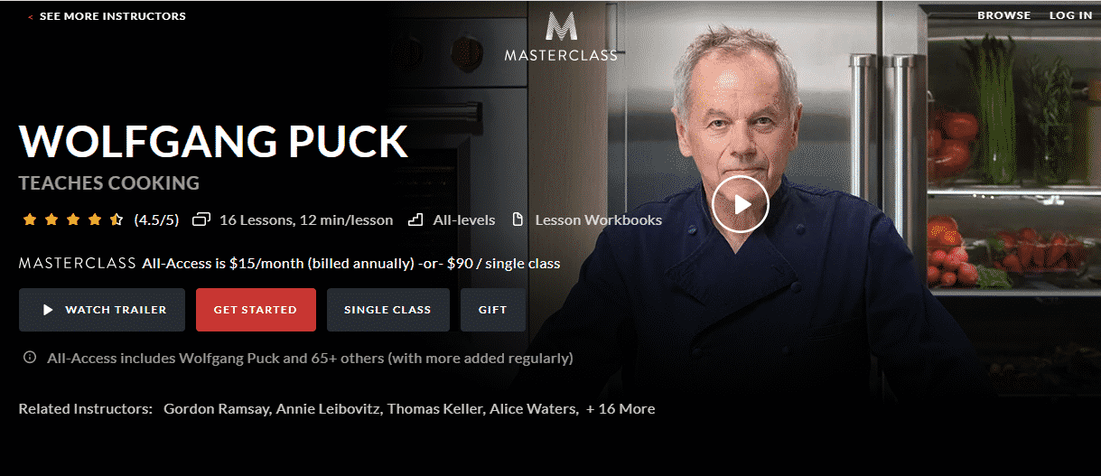 MasterClass Wolfgang Puck Learn Cooking Lessons Online