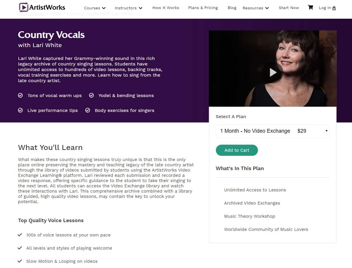 Artistworks Lari White Country Vocals Lesson Review