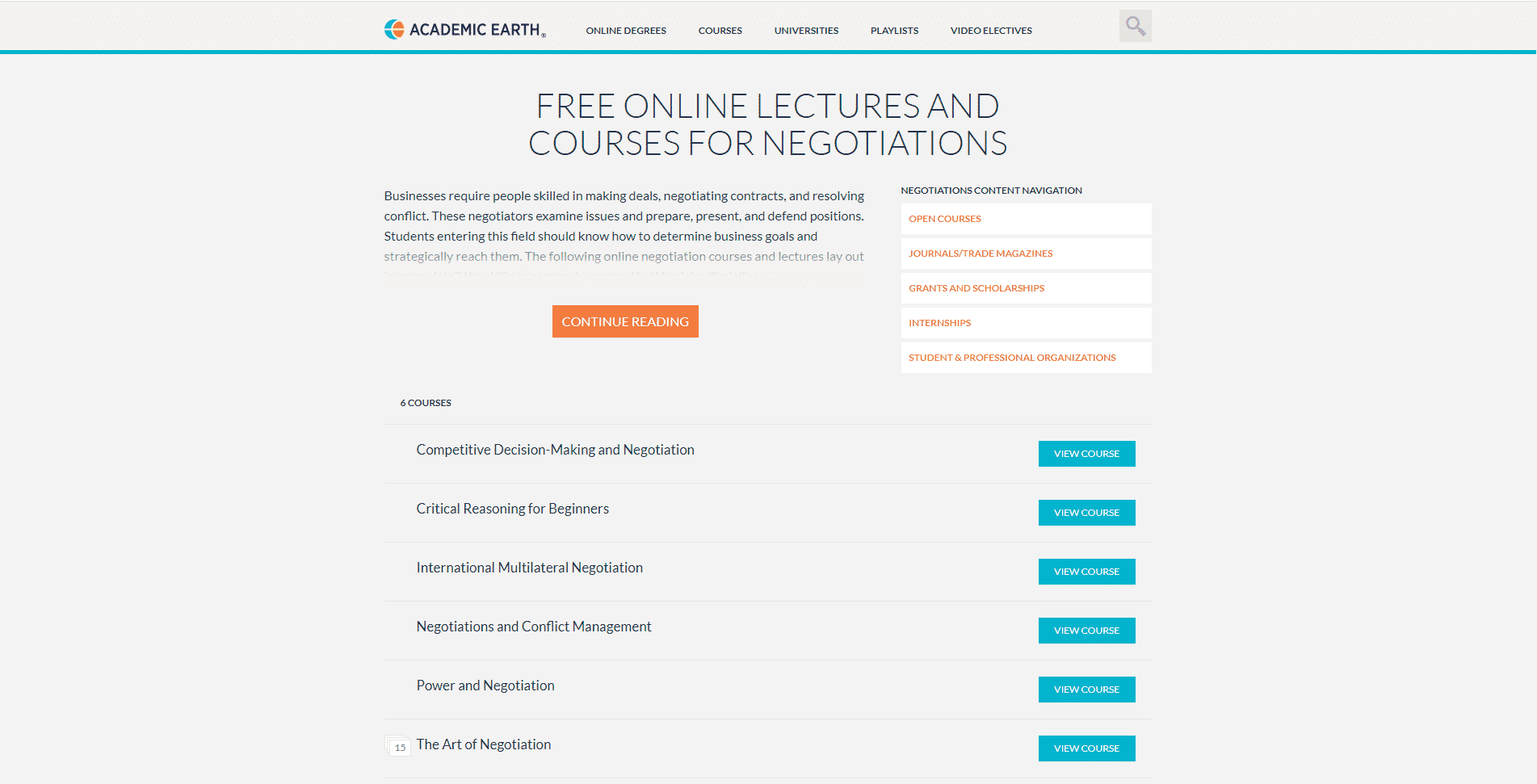Academic Earth Learn Negotiation Lessons Online