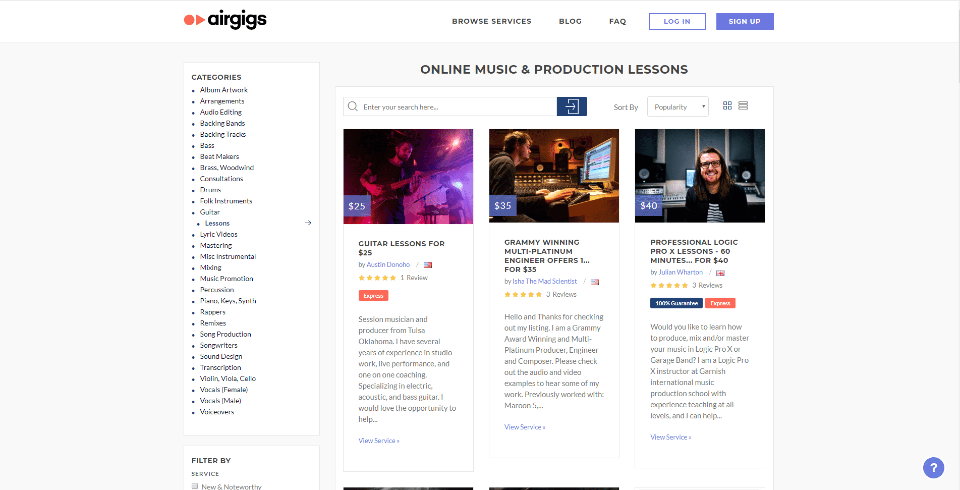 Airgigs – Online Music Lessons