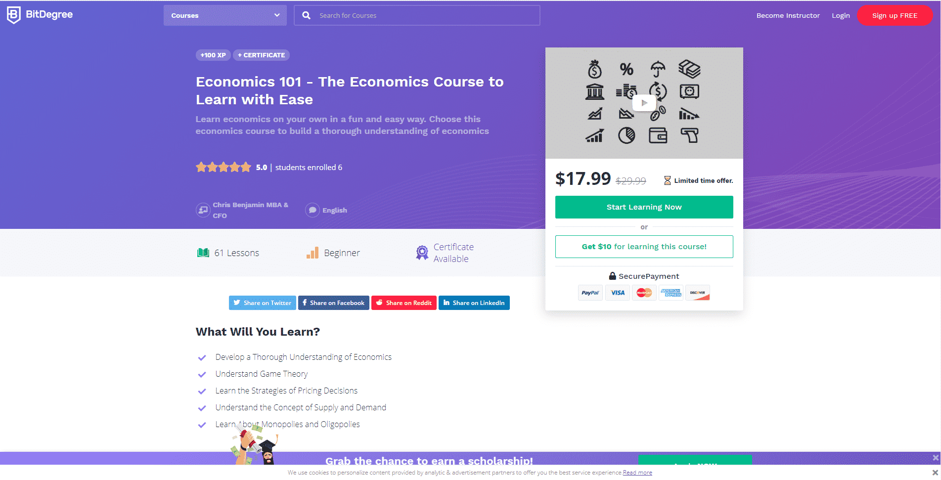 BitDegree Learn Economic Lessons Online