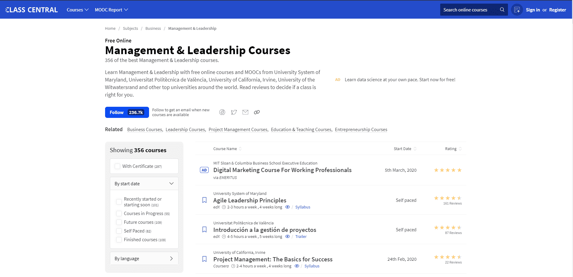 Classcentral.com Learn Leadership Lessons Online
