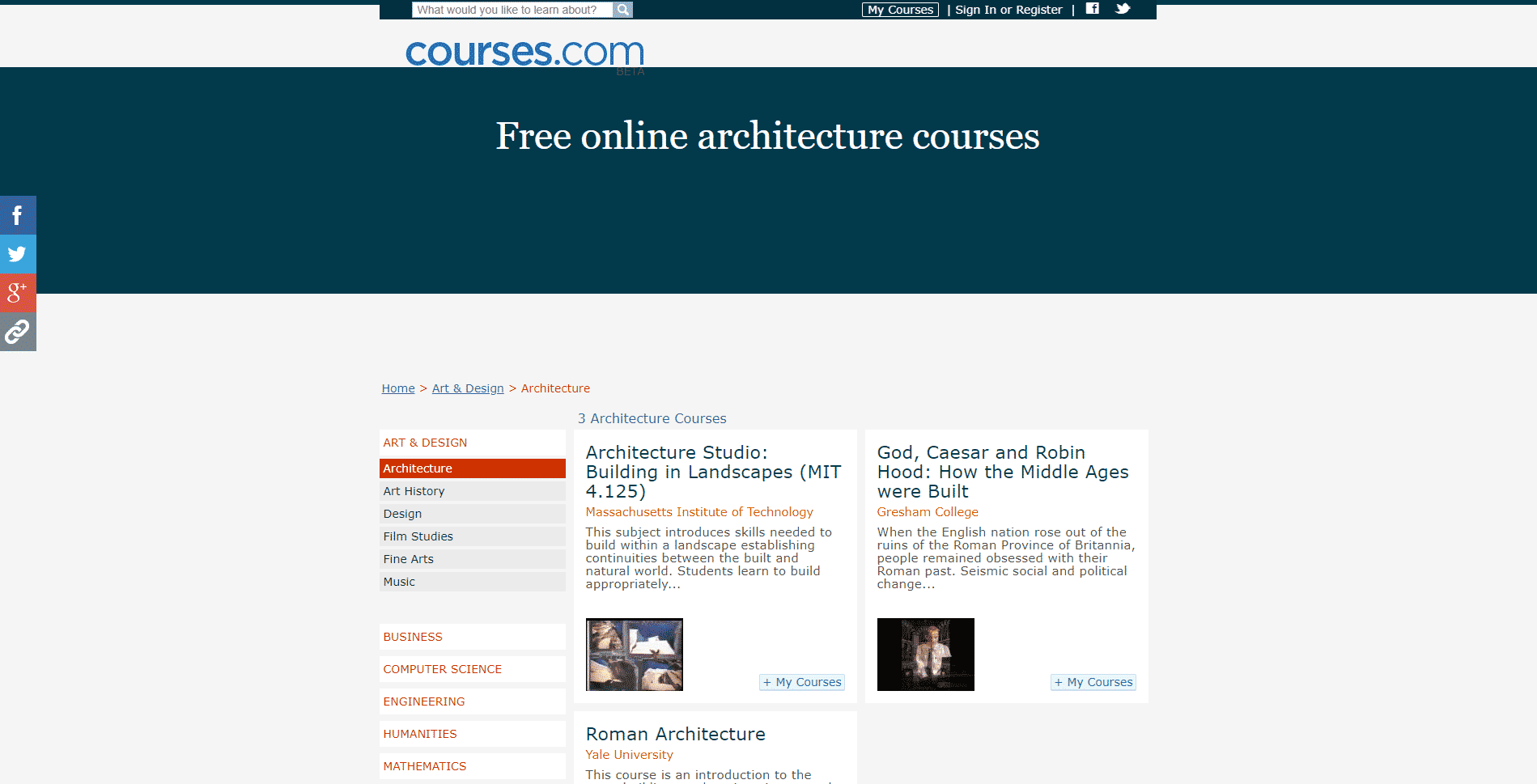 Courses.com Learn Design and Architecture Lessons Online