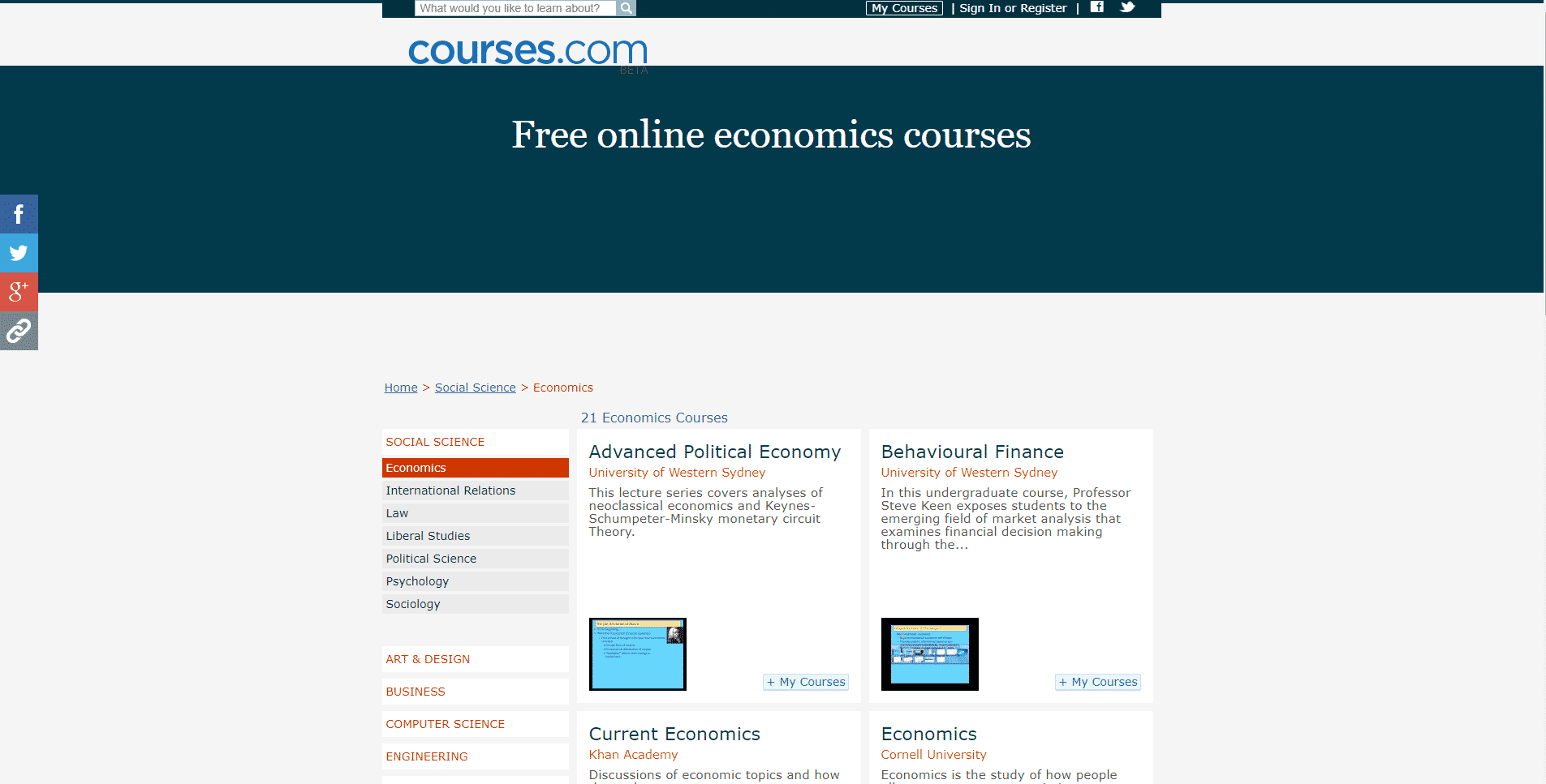Courses.com Learn Economic Lessons Online
