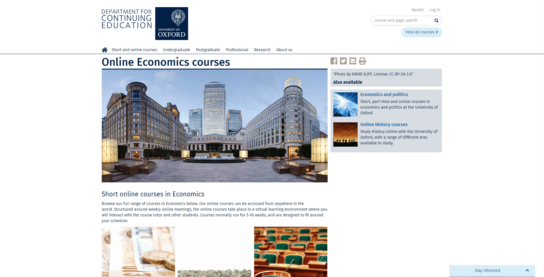 Department of Continuing Education Learn Economic Lessons Online