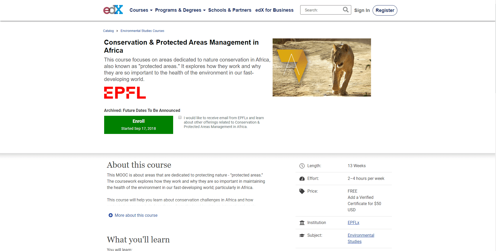 EDX Learn Conservation Lessons Online
