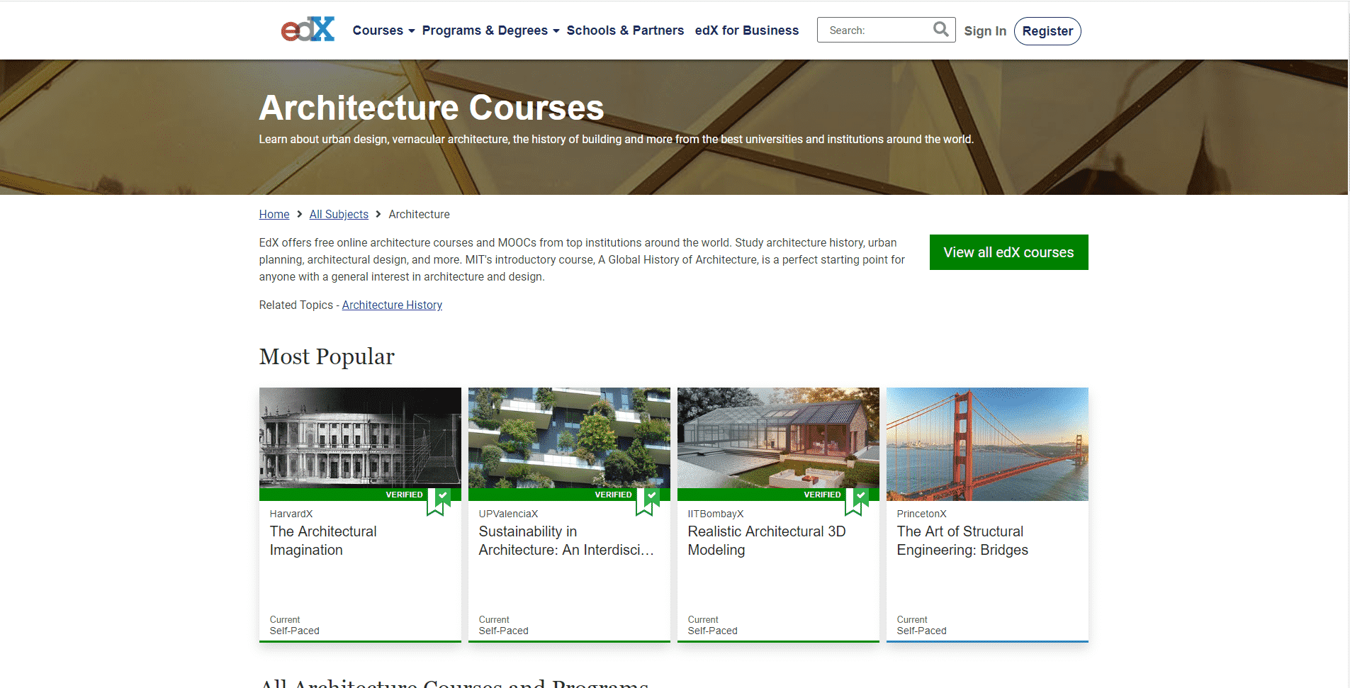 EDX Learn Design and Architecture Lessons Online