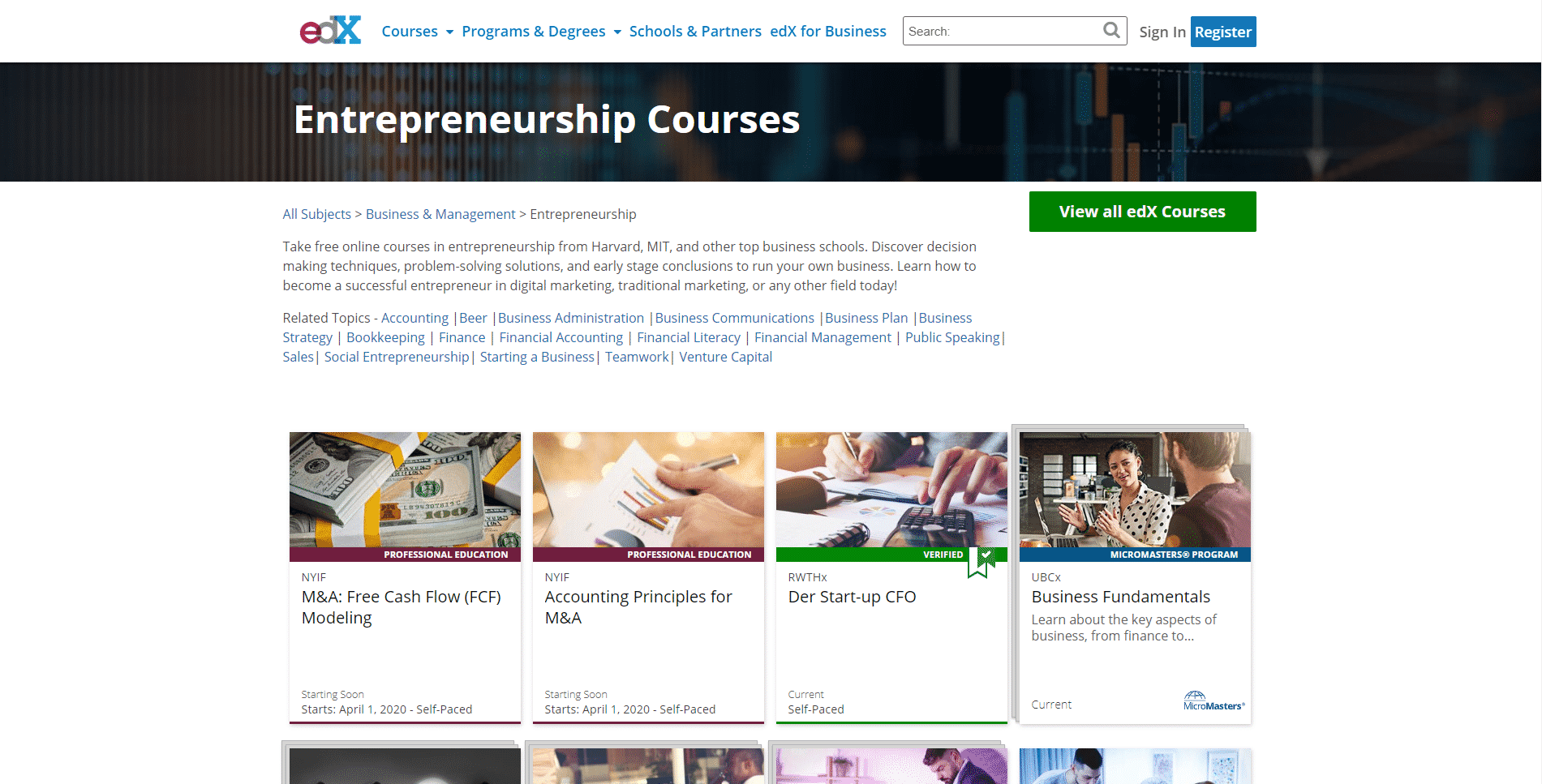 EDX Learn Entrepreneurship Lessons Online