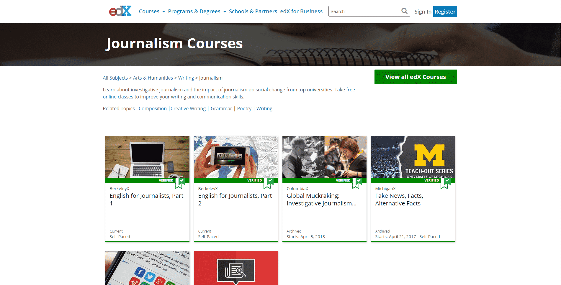 EDX Learn Journalism Lessons Online