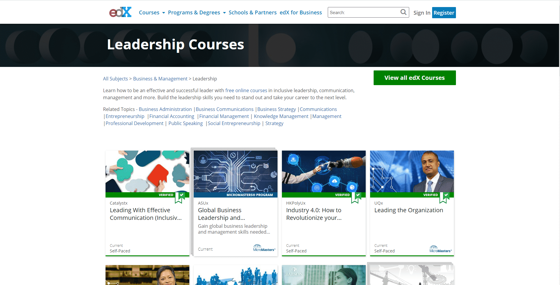 EDX Org Learn Leadership Lessons Online