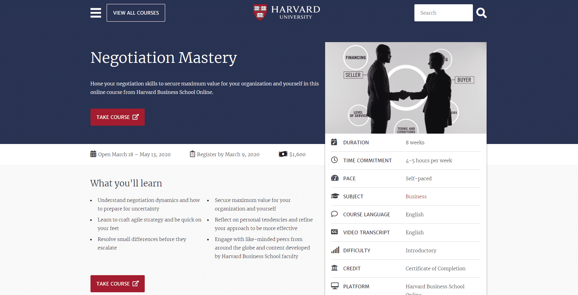 Harvard Business School Learn Negotiation Lessons Online