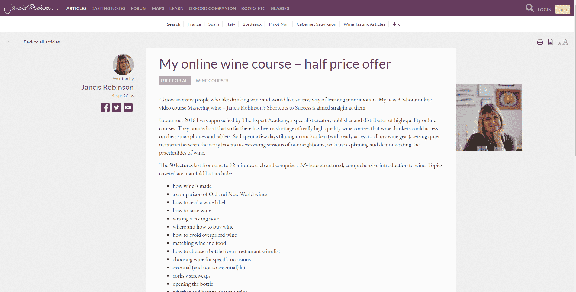 Jancis Robinson Learn Wine Appreciation Lessons Online